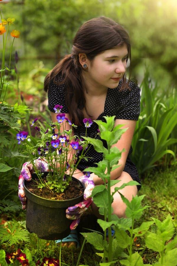 Menina do adolescente com cabelo marrom no jardim do projeto da paisagem do vestido com planta de potenciômetro imagem de stock royalty free