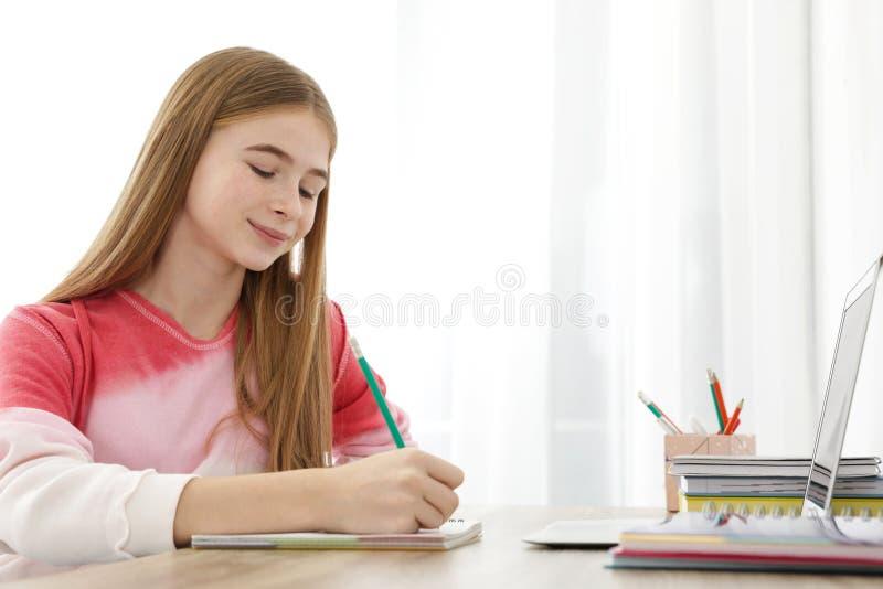 Menina do adolescente que faz seus trabalhos de casa imagem de stock
