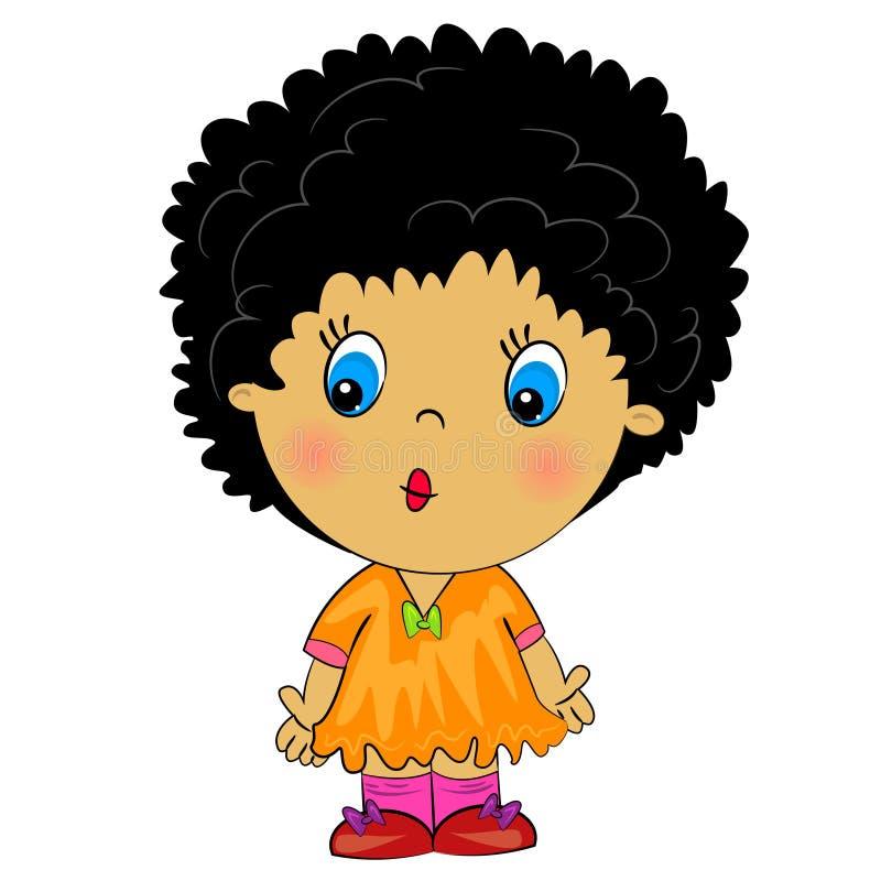 Menina do africano dos desenhos animados. brunette da beleza ilustração royalty free