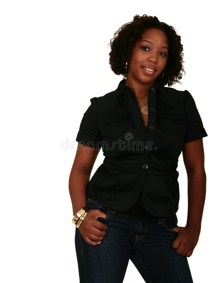 Menina do americano africano em Casua imagem de stock royalty free