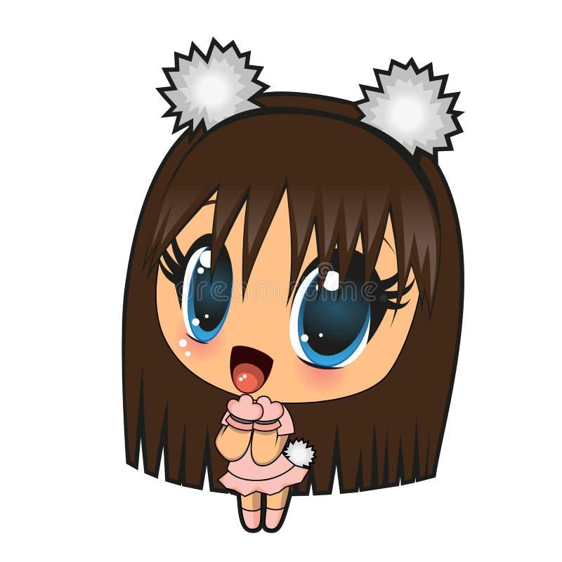 Menina do Anime ilustração stock