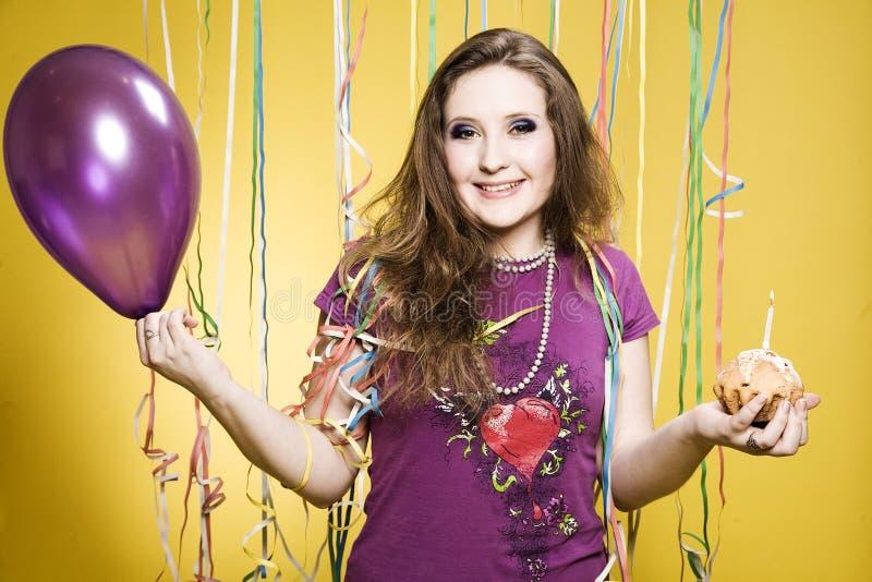 Menina do aniversário fotografia de stock