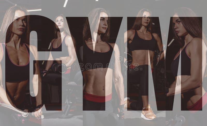 Menina do atleta no sportswear que dá certo e que treina seus braços e ombros com a máquina do exercício no gym Colagem da foto imagem de stock