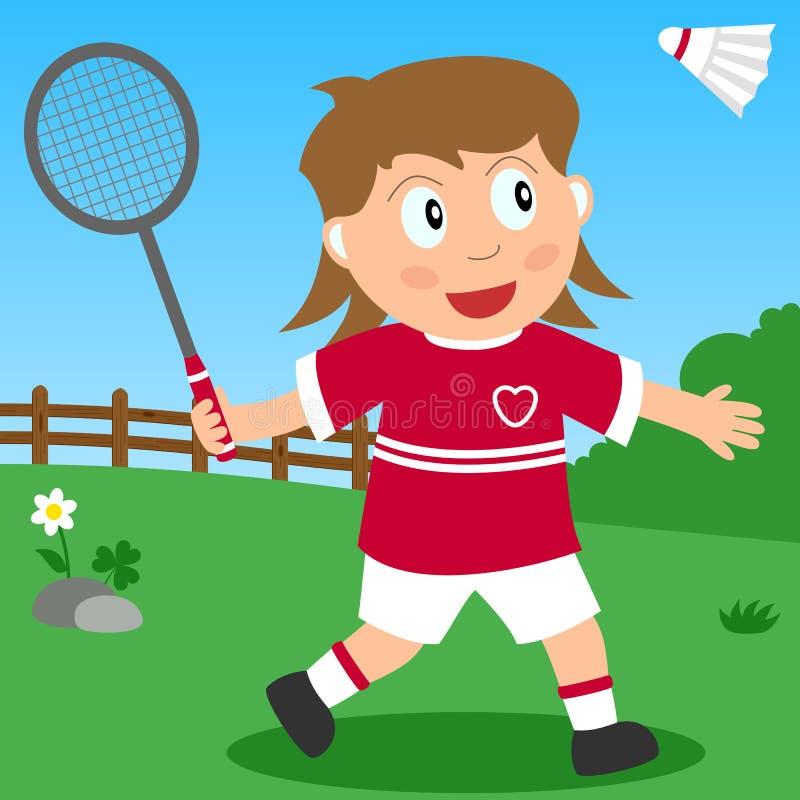 Menina do Badminton no parque ilustração stock