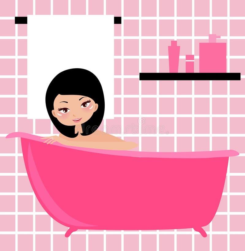 Menina do banho ilustração do vetor