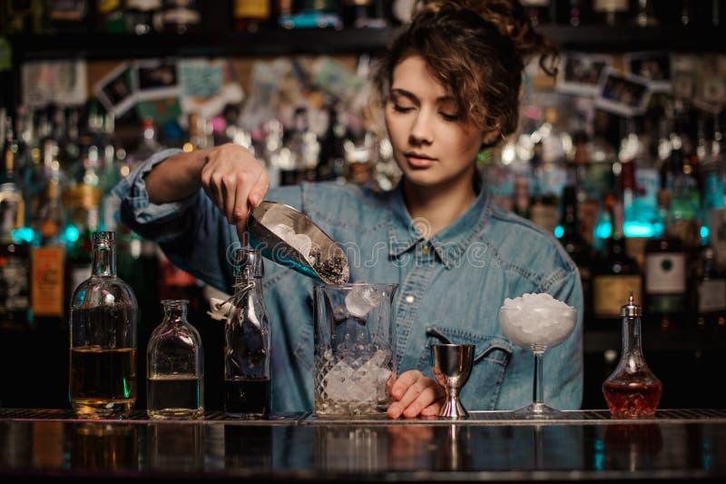 Menina do barman que adiciona ao copo de vidro da medição cubos de gelo foto de stock