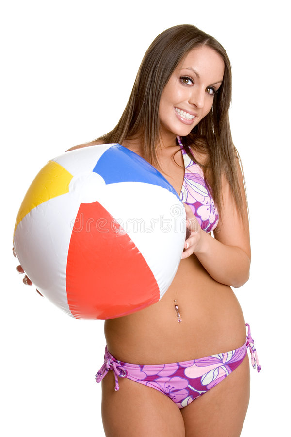 Menina do biquini da esfera de praia imagem de stock