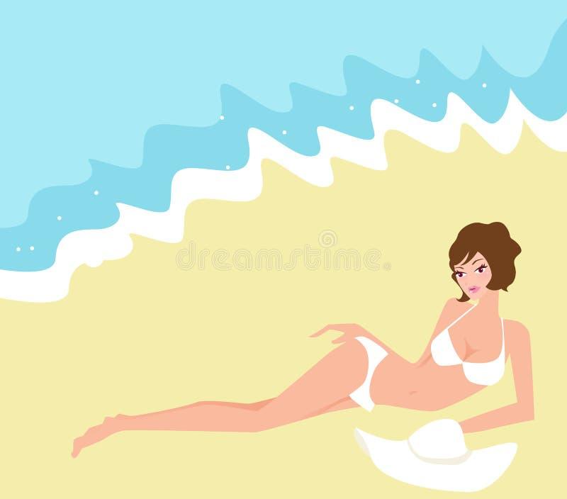 Menina do biquini na praia ilustração do vetor