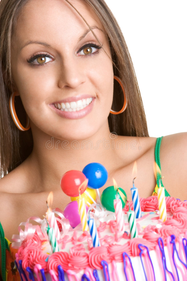 Menina do bolo de aniversário fotos de stock