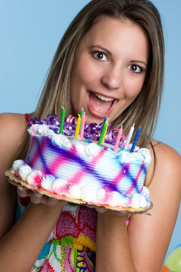 Menina do bolo de aniversário imagens de stock royalty free