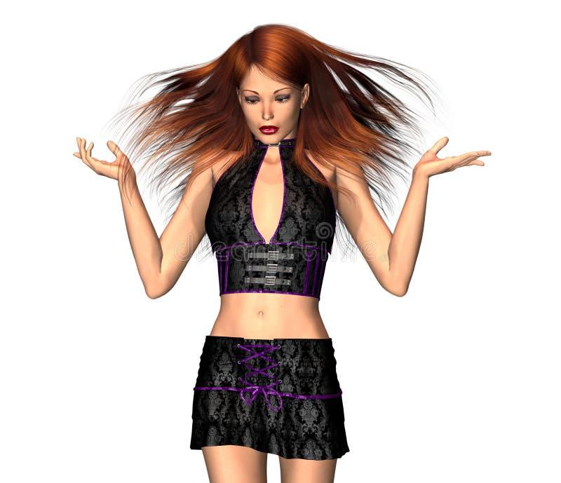 Menina do brunette da dança 3d ilustração do vetor