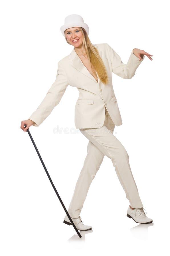 Menina do cabelo louro com a vara de passeio isolada sobre fotografia de stock royalty free