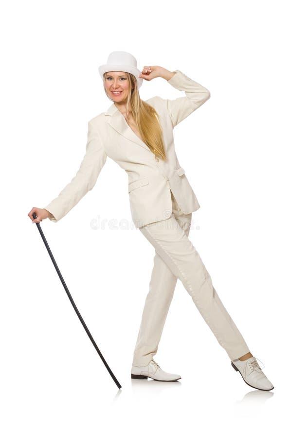 Menina do cabelo louro com a vara de passeio isolada sobre imagem de stock