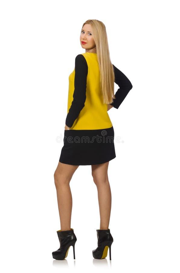 Menina do cabelo louro na roupa amarela e preta fotos de stock