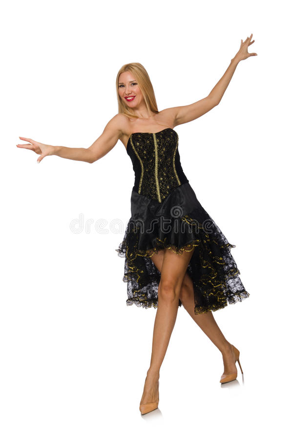 Menina do cabelo louro no vestido de noite preto isolado sobre fotografia de stock
