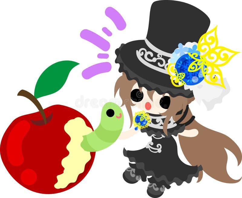 A menina do chapéu de seda ilustração stock