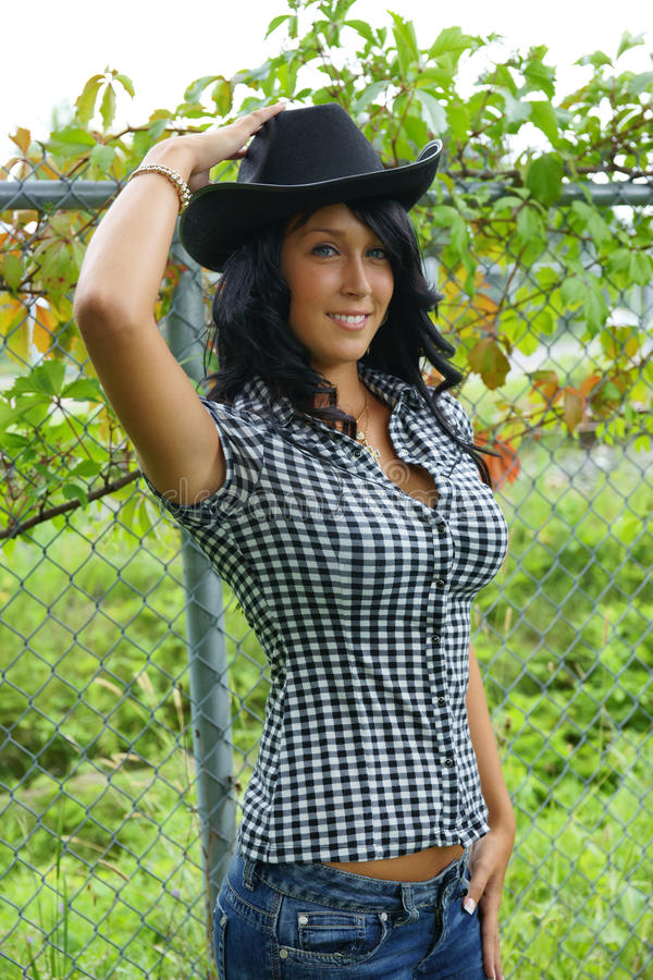 Menina do chapéu de vaqueiro fotografia de stock royalty free