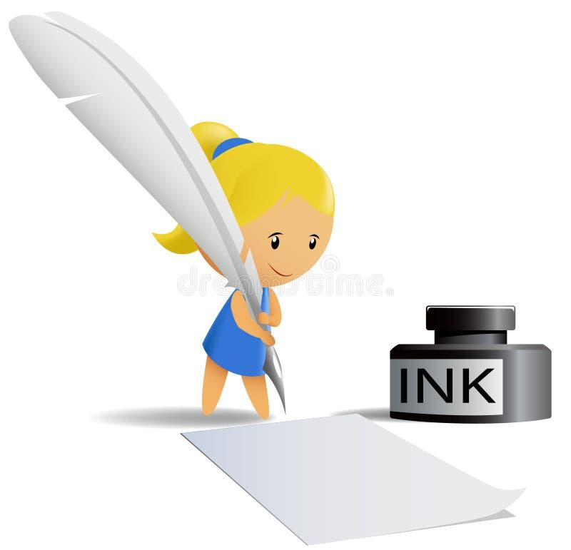 A menina do chibi dos desenhos animados escreve pela pena da pena ilustração royalty free