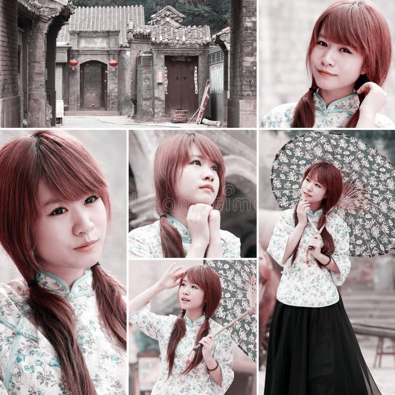 Menina do chinês tradicional na aléia antiga imagens de stock