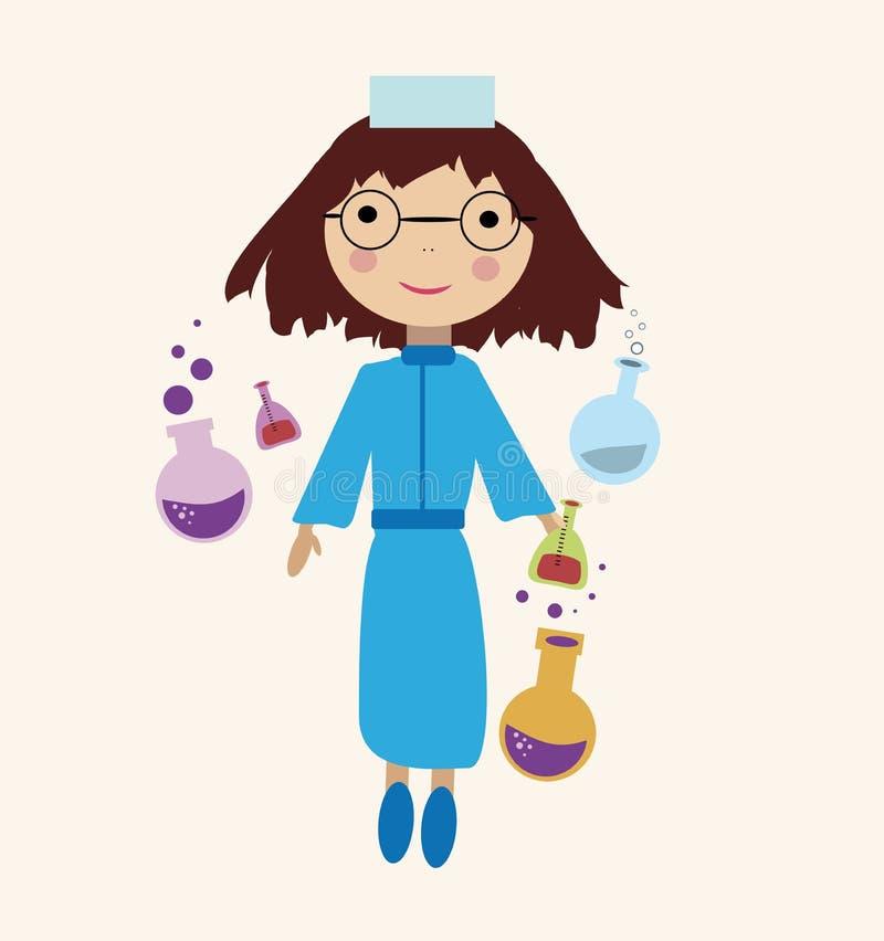 Menina do cientista ilustração do vetor
