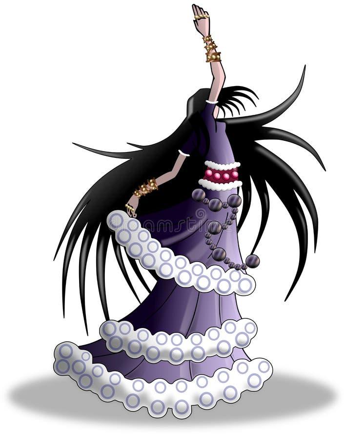 Menina do cigano da dança ilustração stock