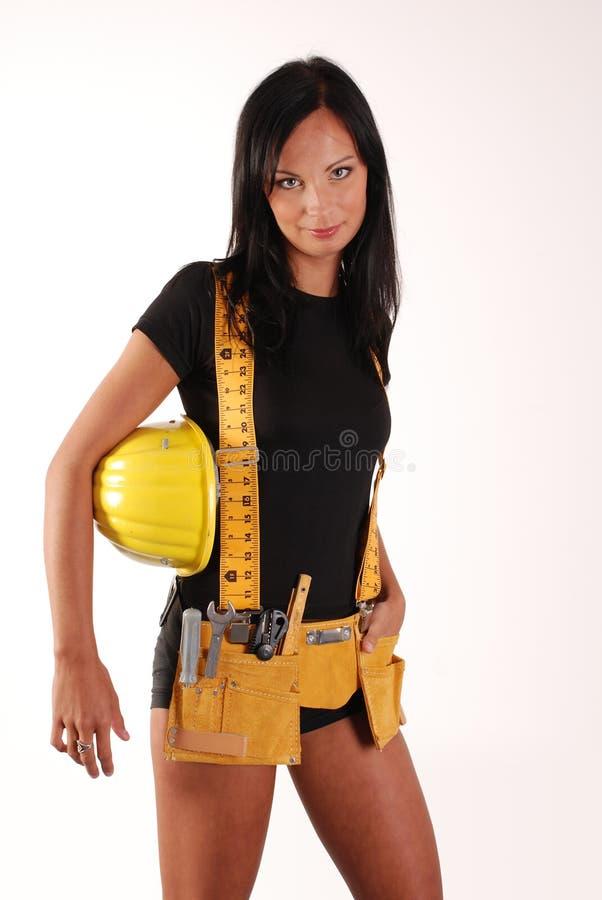 Menina do construtor fotografia de stock
