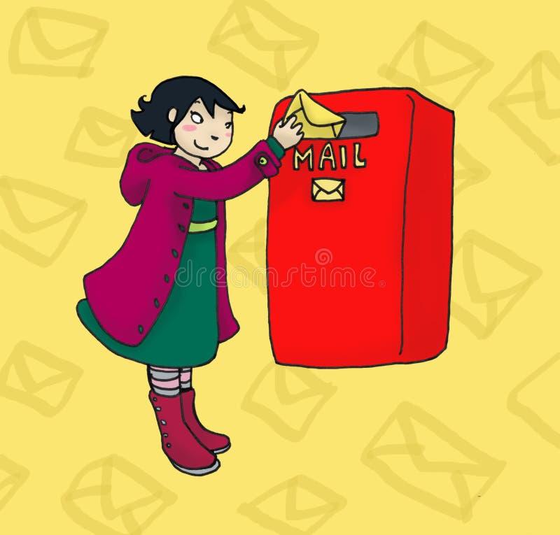 Menina do correio ilustração stock