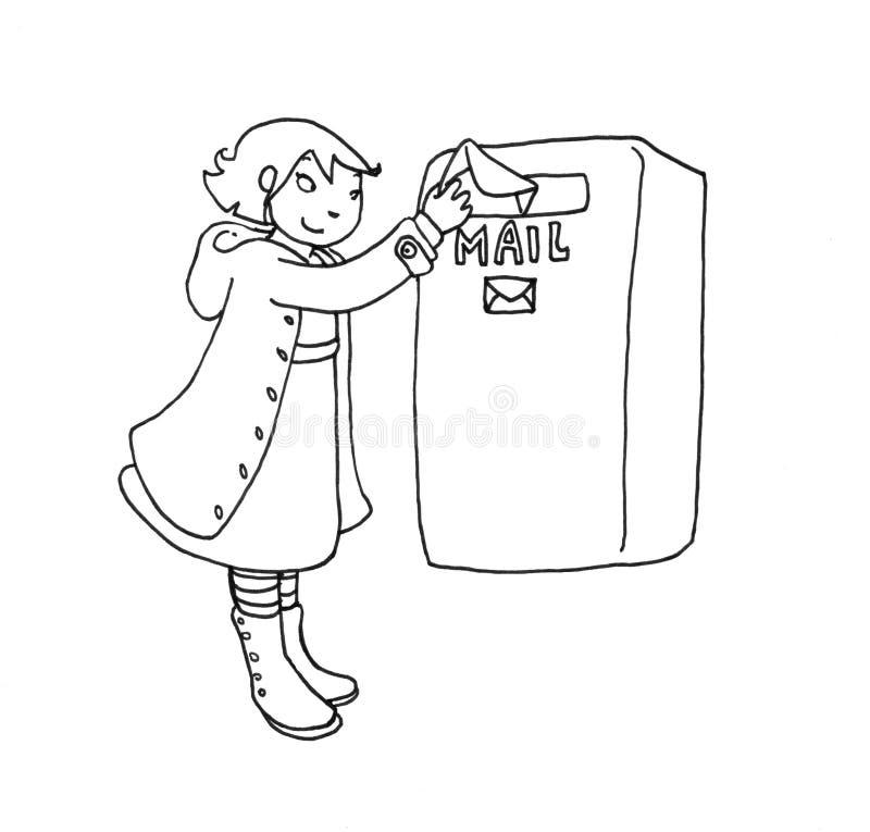 Menina do correio ilustração do vetor