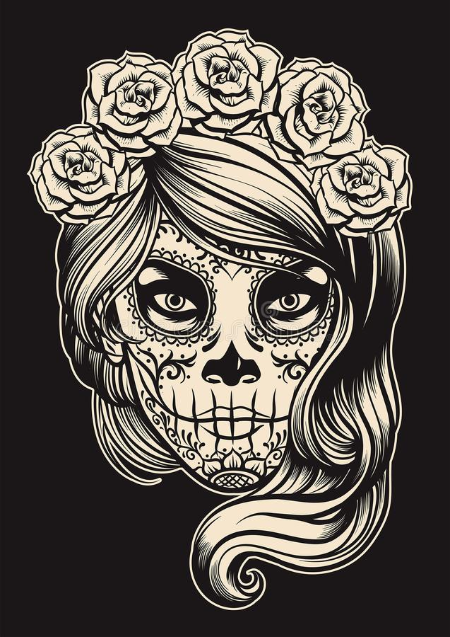 Menina do crânio do açúcar ilustração royalty free