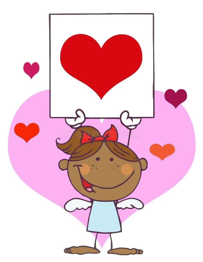 Menina do Cupid do americano africano com coração da bandeira ilustração stock