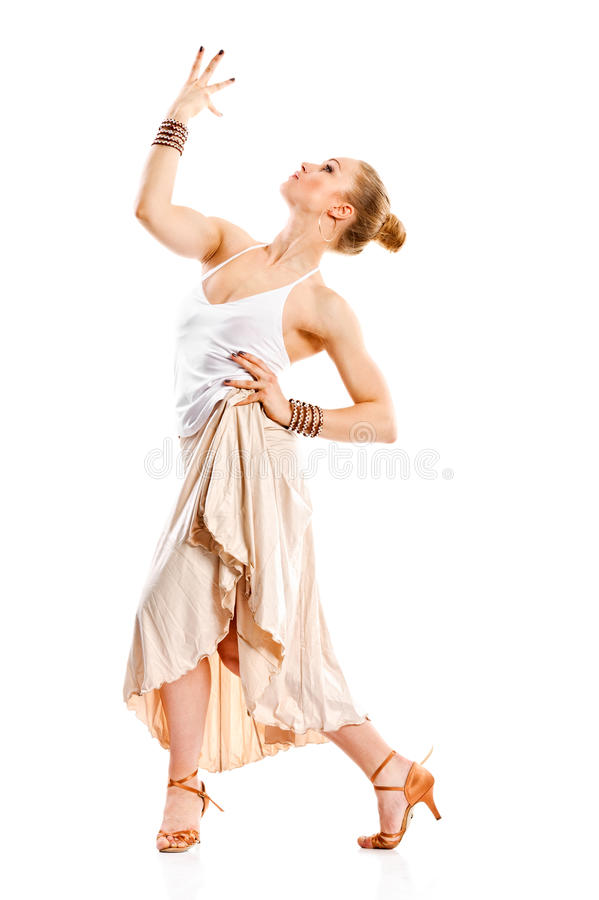 Menina do dançarino do Latino na ação imagem de stock royalty free