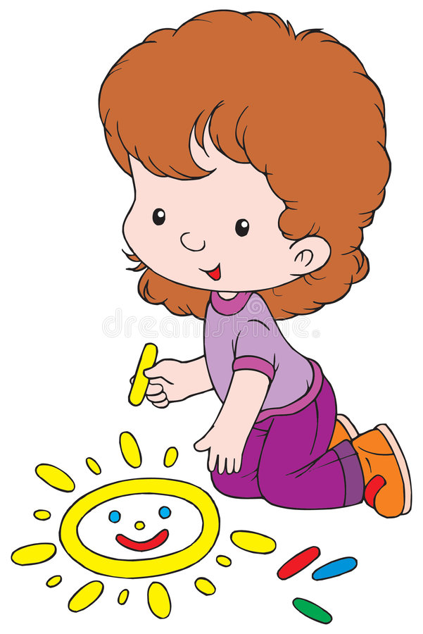 Menina do desenho ilustração stock
