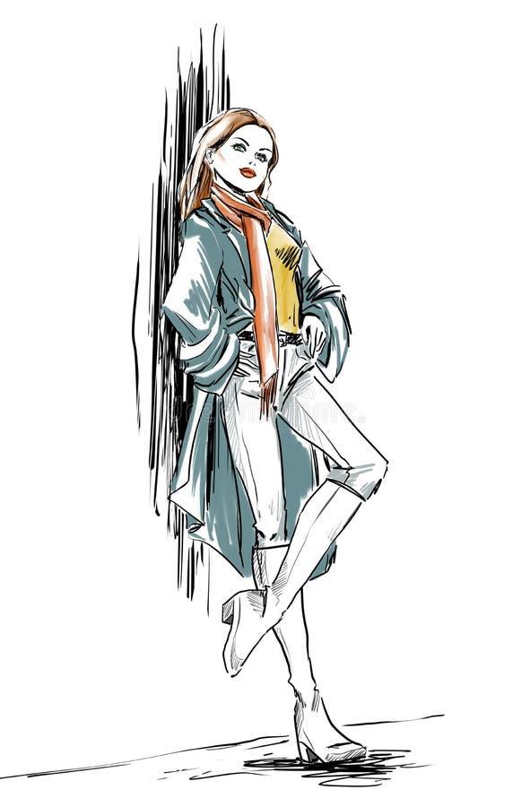 Menina do desenho de esboço da forma, aquarela ilustração royalty free
