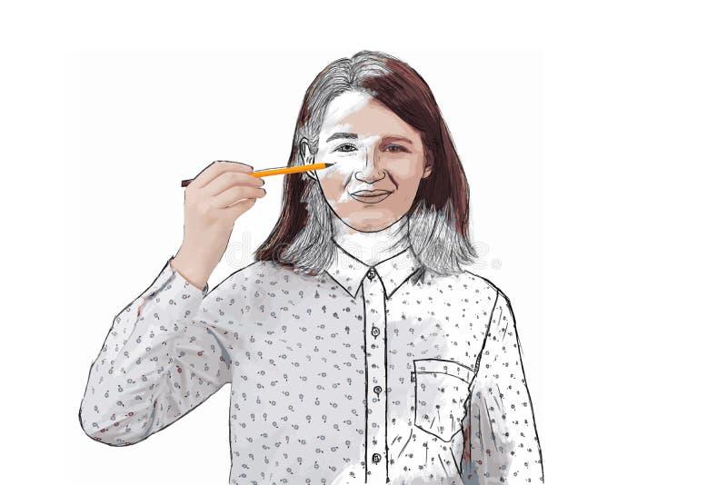 Menina do desenvolvimento do auto ilustração stock
