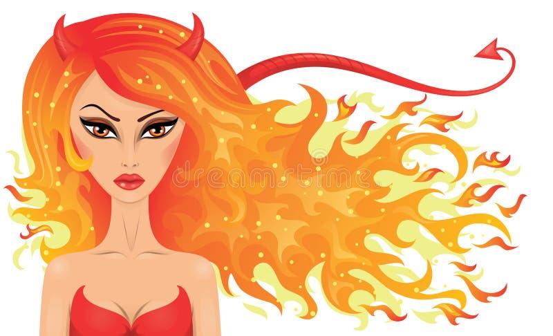Menina do diabo ilustração stock