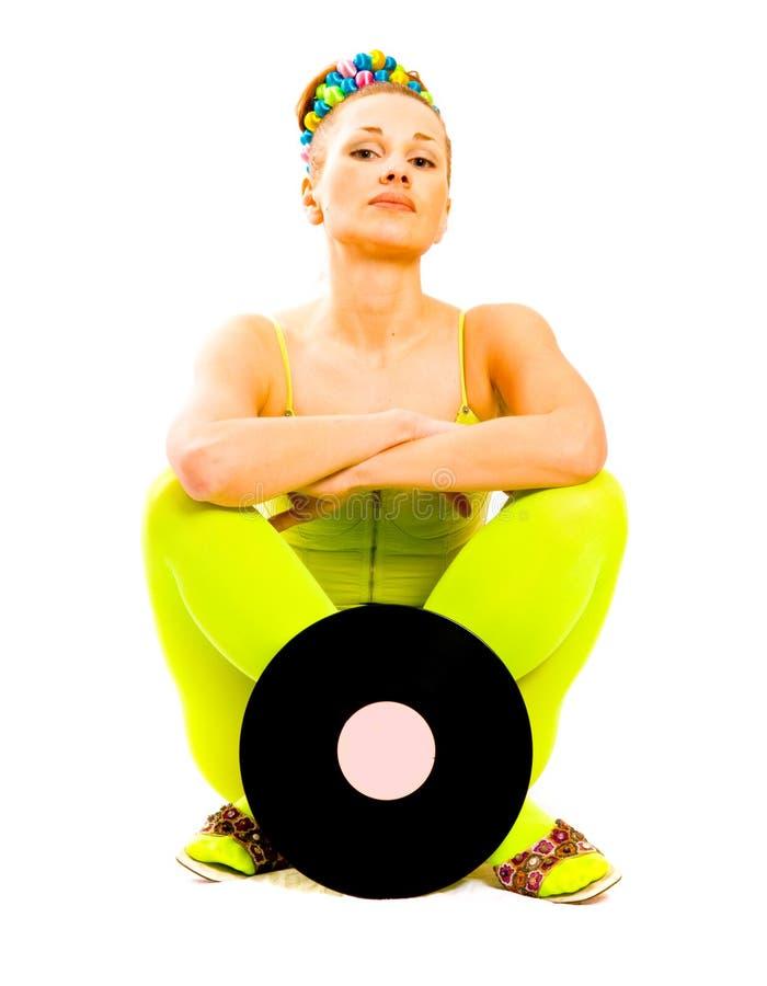 Menina do disco com vinil imagem de stock