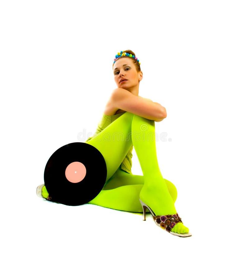 Menina do disco com vinil fotos de stock