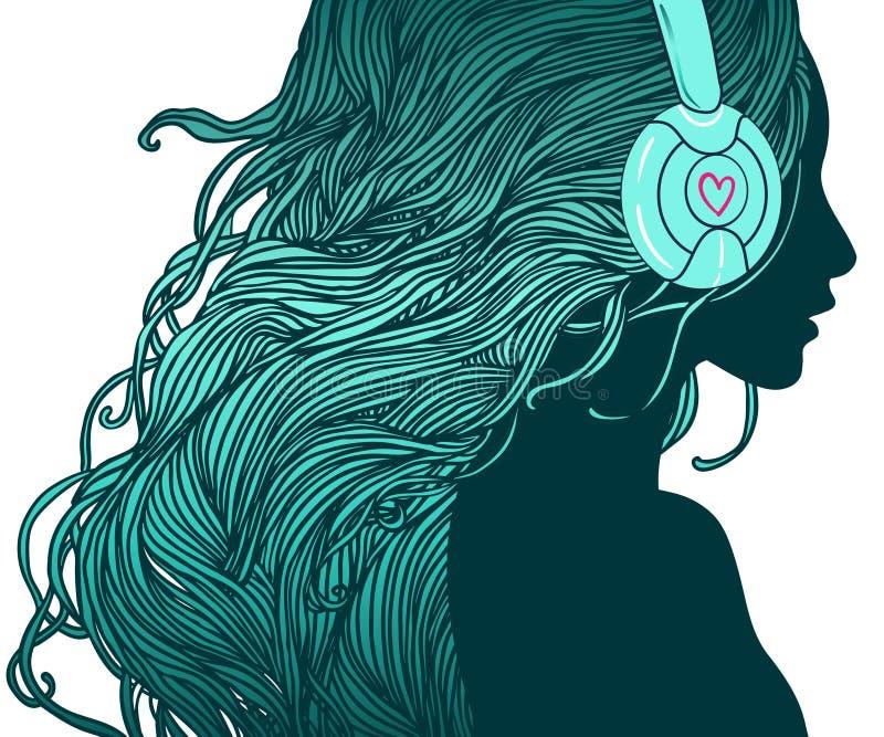 Menina do DJ ilustração royalty free