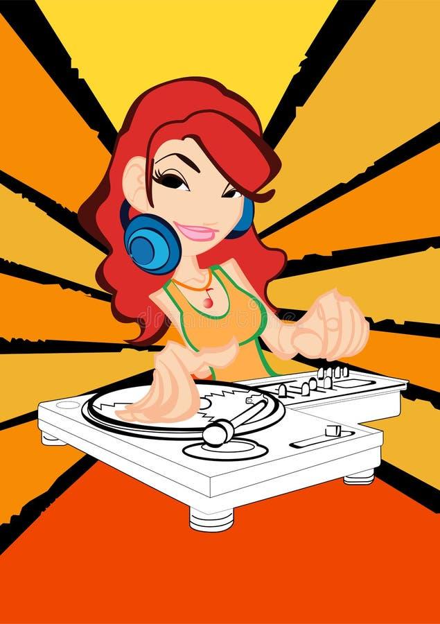 Menina do DJ na ação ilustração stock