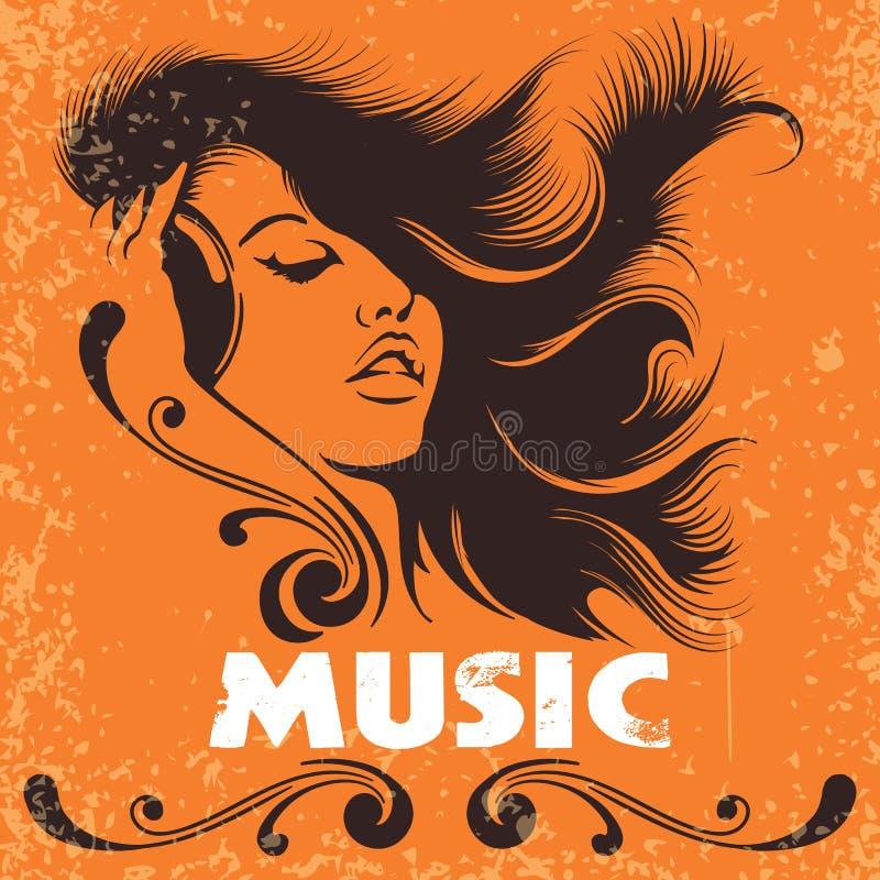 Menina do DJ no cartaz retro da música dos fones de ouvido ilustração do vetor