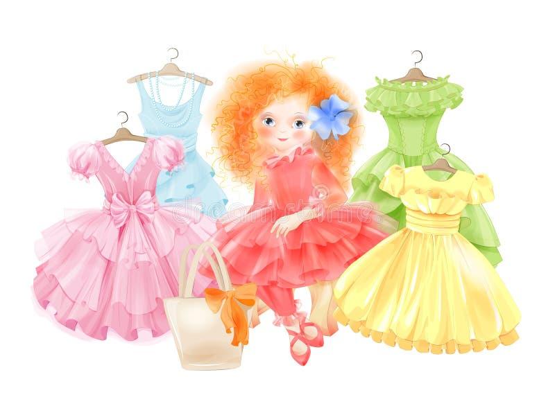 Menina do encanto e grupo de vestidos festivos ilustração royalty free