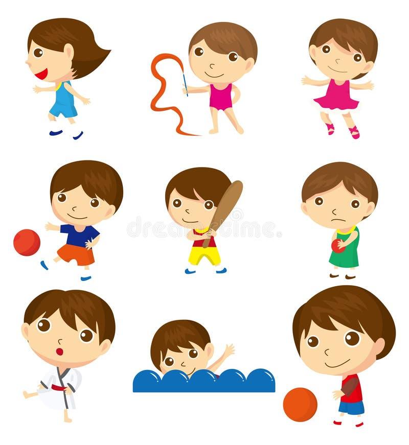 Menina do esporte dos desenhos animados ilustração stock