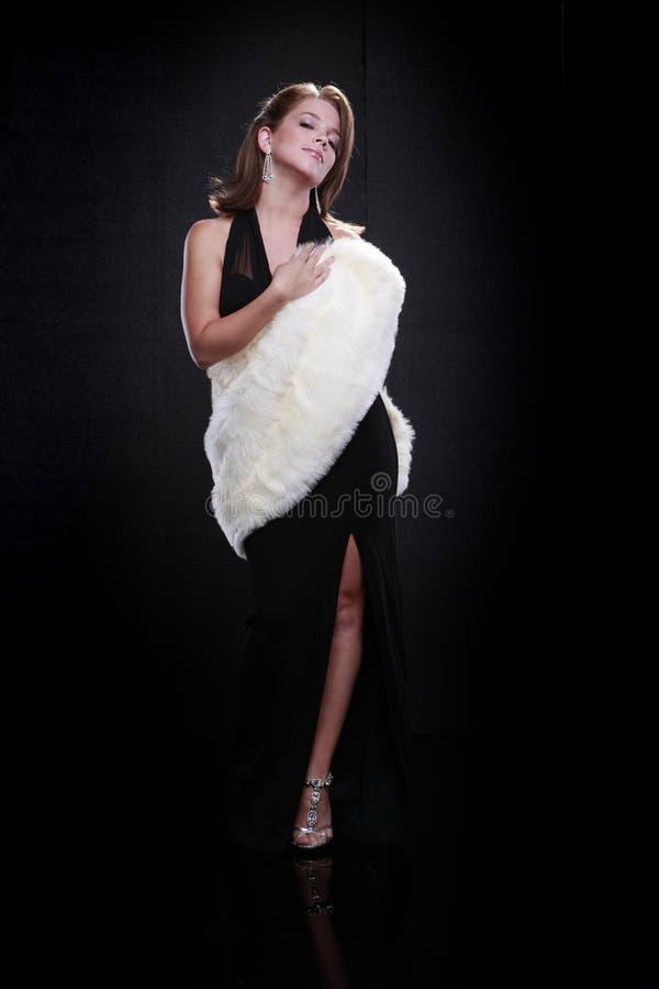 Menina do estilo de Hollywood e pele branca fotografia de stock
