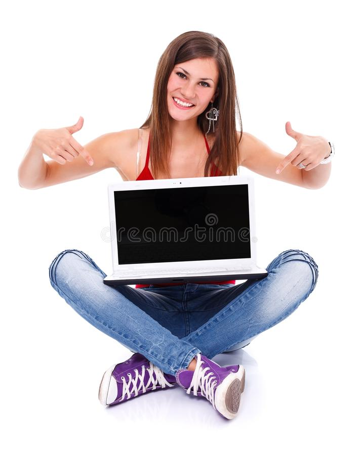 Menina do estudante com portátil fotografia de stock royalty free