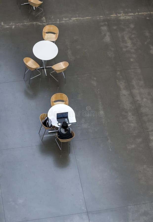 A menina do estudante está estudando o material educacional no portátil ao sentar-se na tabela na entrada da instituição educativ imagem de stock