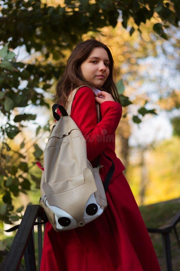 Menina do estudante fora no sorriso do parque do outono feliz foto de stock royalty free