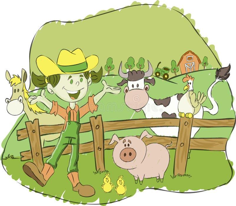 Menina do fazendeiro em uma exploração agrícola com animais ilustração do vetor