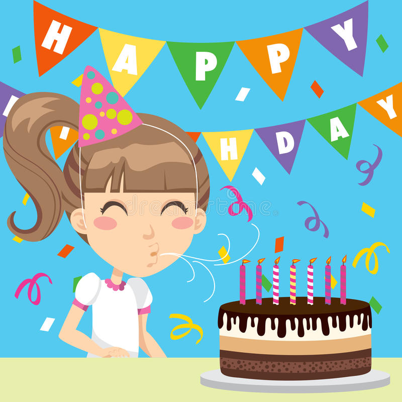 Menina do feliz aniversario ilustração stock