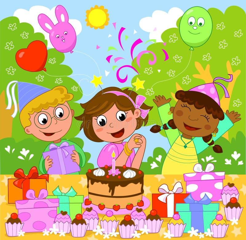 Menina do feliz aniversario! ilustração stock