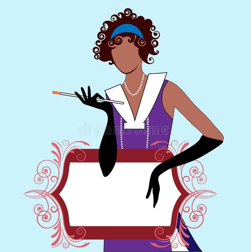 Menina do Flapper com bandeira ilustração royalty free